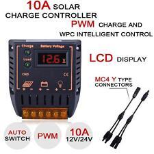 Charge Solar Panel Controller Regulateur 10A 12V/24V + MC4 M/F Y Connecteur DC
