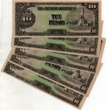 ND 1943 UNC P-111 WWII 10 Pesos JIM Philippines