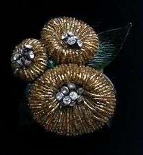 """Vtg Large EARLY MIRIAM HASKELL Molded Green Glass Beaded Flower Brooch 3 1/4"""""""