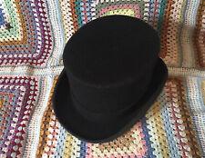 Vintage Black Top Hat Size 7 1/8 58 Steampunk