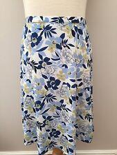 Honor Milburn - Olive Green White & Blue Design Flared Skirt - Size 14 - New