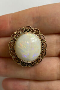 "Antique 9ct Gold And Large Opal Brooch 1"" Hallmarked VGC"