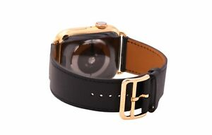 24k Gold plated Series 6 Hermes Apple Watch Single Tour Noir Black 44mm Custom