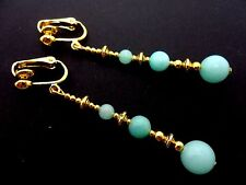 A PAIR BLUE JADE BEAD GOLD TONE EXTRA LONG DANGLY CLIP ON EARRINGS. NEW.
