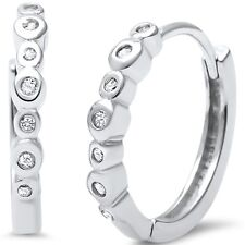 Bezel Set CZ .925 Sterling Silver Hoop Huggie Earrings