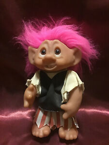 Vintage 1977 D.A.M. 9 Inch Pirate Troll w/Pink Hair Doll