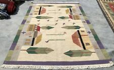 Authentic Hand Knotted Woven Vintage Pictorial Wool Kilim Kilm Area Rug 6 x 4 Ft