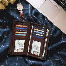 Leatherboss Genuine Leather Checkbook Cover with Credit Card Holder