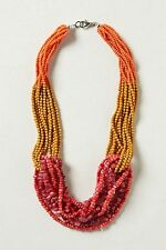 ANTHROPOLOGIE NECKLACE BEADS  CORAL TROPIC WATERS MULTI STRANDS #1549