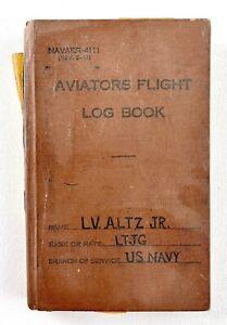 US NAVY Aviators Flight Log Book Lieuntenant Jr Vtg 1950 Sea Planes Aircraft