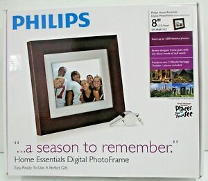 """Philips SPF3408T/G7 Photo Frame 8"""" 4:3 Digital Frame w/ Charger Preowned"""