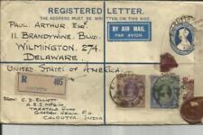 India Registered Postal Envelope-HG:C8 uprated SG#260,#261(5rupee)#276