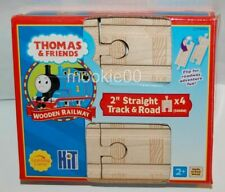 "THOMAS WOODEN RAILWAY (TWR) 2"" Inch Straight Train Track Pack, 4 Pieces Total"