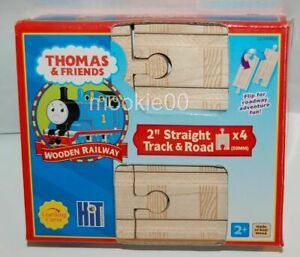 """THOMAS WOODEN RAILWAY (TWR) 2"""" Inch Straight Train Track Pack, 4 Pieces Total"""