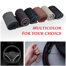 Handmade Sewing Steering Wheel Cover Soft Real Leather Braid With Needle&Thread