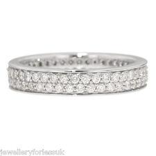 18Carat White Gold One Carat Diamond Full Eternity Ring 2-Row Pave Off-Set 3.0mm