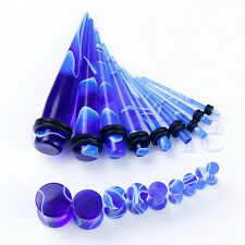 18 Blue Ear Taper Plug Stretcher Gauge Piercing 14G 12G 10G 8G 6G 4G 2G 0G TW