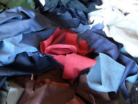 5 Pounds Upholstery Leather Scrap Mixed Colors Mixed Weights
