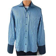 Ted Baker Endurance Men's Pinstriped Button Down Dress Shirt Size 16 Blue