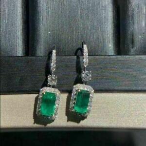 4Ct Emerald Cut Green Emerald Drop & Dangle Earrings Solid 14K White Gold Finish