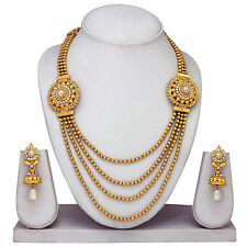 New South Indian Gold plated traditional Necklace & earrings, temple jewelry set