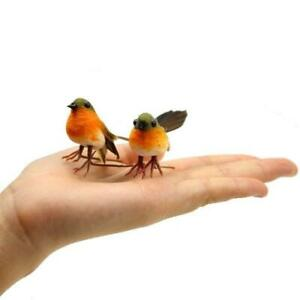 10X Lovely Artificial Feather Robin Bird Xmas Tree Decoration Craft Birds UK