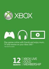 Microsoft Xbox Live Gold 12 Month MS Membership Card