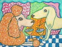 Dachshund and Poodle Martini Moment Vintage Style Art Print 8x10 Dog Collectible