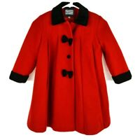 VTG Rothschild Girls sz 4-5 Red Black Dress Coat Holiday Formal Wool USA Bows