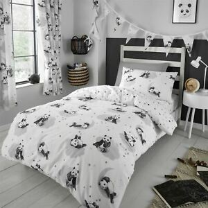 HLC Girls Boys Kids Cute Panda White Monochrome Duvet Cover Curtains Bunting