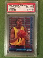 ANDREW BYNUM ROOKIE REFRACTOR PRIZM PSA 10 Lakers 2005 Bowman Chrome #134 GEM MT