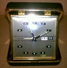 VINTAGE SLOAN TRAVEL ALARM CLOCK, FOLD UP STYLE IN LEATHER CASE