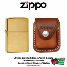 Zippo Armor Case Brushed Brass Lighter and Brown Leather Clip Pouch #168_LPCB
