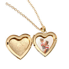 Men Woman Vintage Gold Heart Photo Frame Necklace Long Chain Locket Pendant Gift