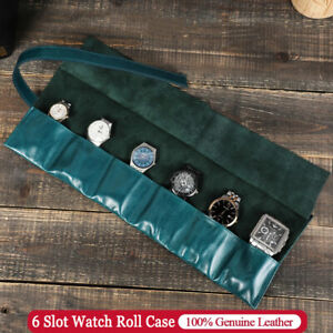 Luxury 6 Slots Watch Roll Case Vintage Genuine Leather Watches Storage Pouch Bag