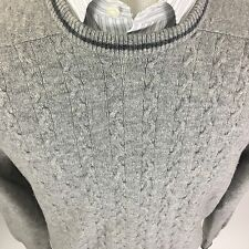 MacKinnon of Scotland Men's XL Gray Fisherman Wool Crew Neck Cable Knit Sweater