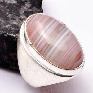 Botswana Agate Ethnic Handmade Man's Ring Jewelry US Size-7.75 AR 28898
