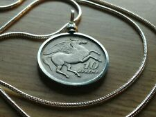 "a 24"" White Gold Filled Chain. 28mm. 1973 Flying Pegasus Drachma Coin Pendant on"