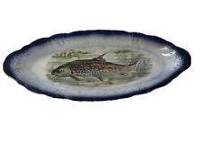 Rare Flow Blue Porcelain Fish Platter