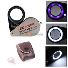 30x 21mm Glass LED/UV Light Magnifying Magnifier Jeweler Eye Loop Jewelry Loupe