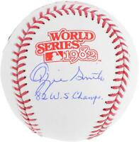 Ozzie Smith St. Louis Cardinals Signed 1982 WS Logo Baseball & 82 WS Champs Insc