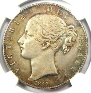 1847 Great Britain England Victoria Crown Coin - Certified NGC XF40 (EF40)