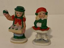 New ListingVintage Lefton Colonial Village Girl Ice Skating And Selling Cookies Figurines