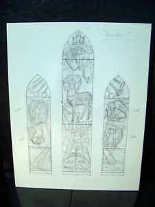 """Revelation"" Stained Glass Design 1946-59 Original Pencil Sketch By C. Kelm"