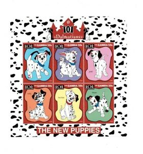 Gambia Disney 101 Dalmations - The New Puppies Sheet of 6 Stamps - MNH