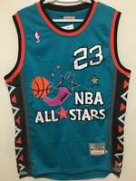 Throwback #23 Michael Jordan 1996 All Star Vintage TEAL Men's Sewn Jersey