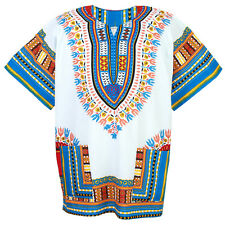 African Dashiki Mexican Poncho Hippie Tribal Boho Shirt Blouse White ad12wc