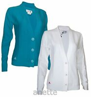 Adidas Womens Cardigan New Button Fly Teal White Ribbed Front Golf Style BNWT