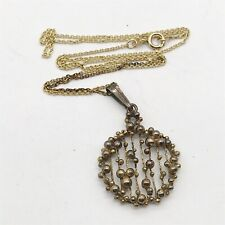 VINTAGE 9ct ROLED GOLD DANISH BALL BAUBLE MODERNISTIC PENDANT AND NECKLACE