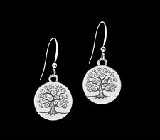 *CKstella*   Tree of Life Pewter Dangle .925 Sterling Silver Hook Earrings